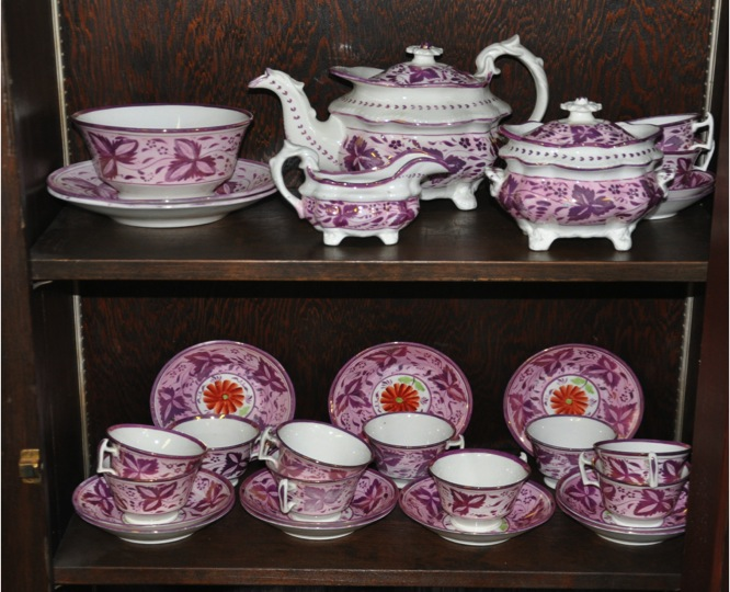 Emma Goddard Pink Luster China Tea Set 1823