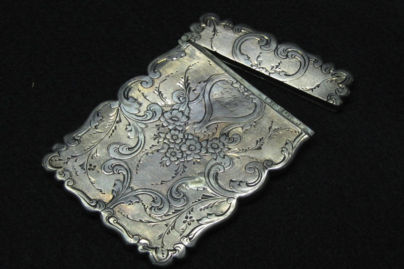 Silver embossed calling card case 1870